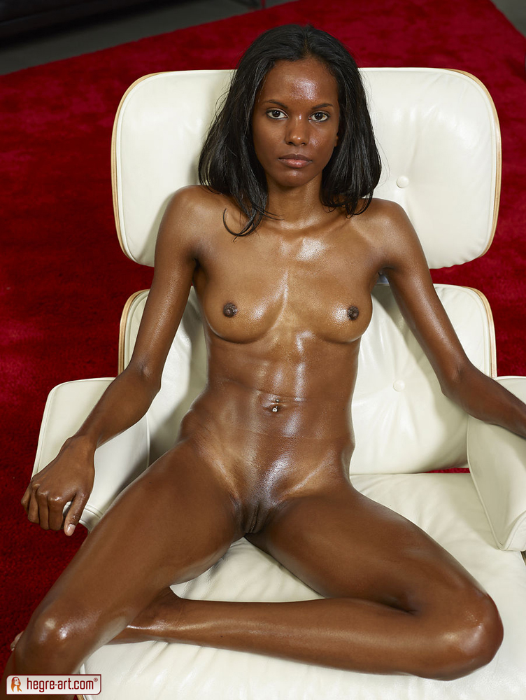 Black Oil covered beautiful pussy naked